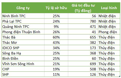 Danh mục đầu tư ngành điện của REE tính đến giữa năm 2017