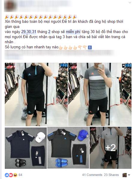 Với yêu cầu chia sẻ bài viết lên trang cá nhân, tag tên 3 người bạn để nhận quà vào ngày 29,30,31 tháng 2, chủ shop quần áo chí ít đã lừa đẹp 23 người.