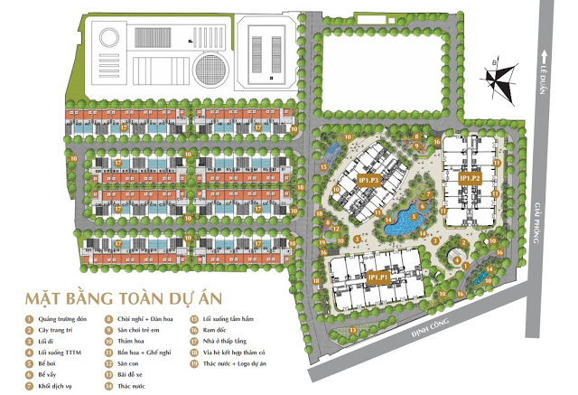 Mặt bằng tổng thể dự án Imperial Plaza, gồm 3 khối chung cư cao tầng, khu nhà thấp tầng và khu đất xây trường học.