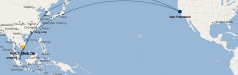 Mới chỉ có hãng hàng không United Airlines từng mở đường bay thẳng San Fransisco - TP HCM, quá cảnh ở Hồng Kông.