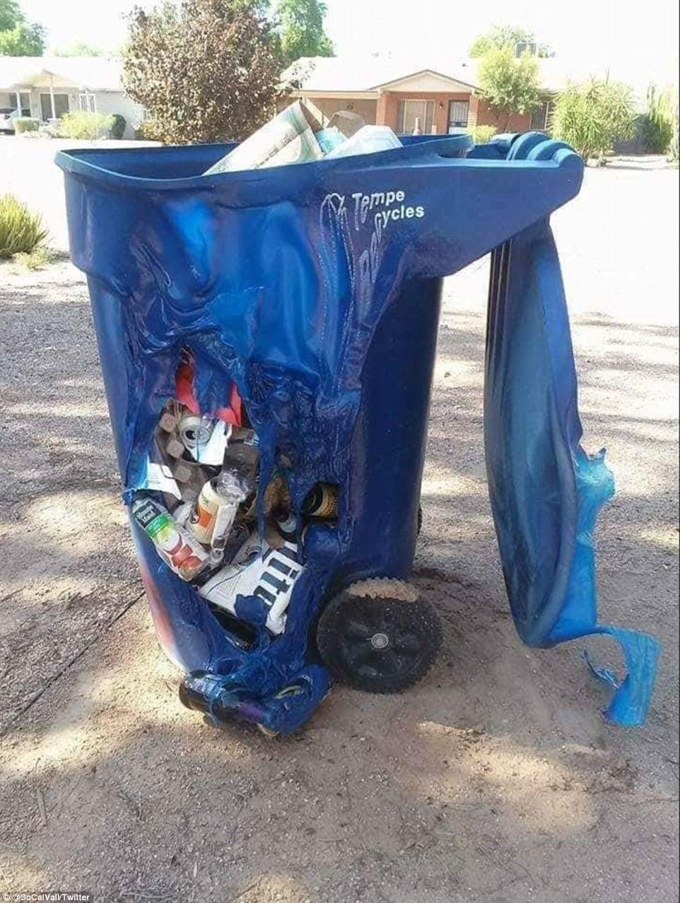 Những thùng đựng rác bằng nhựa cũng lâm vào tình cảnh tương tự. Ảnh: Twitter