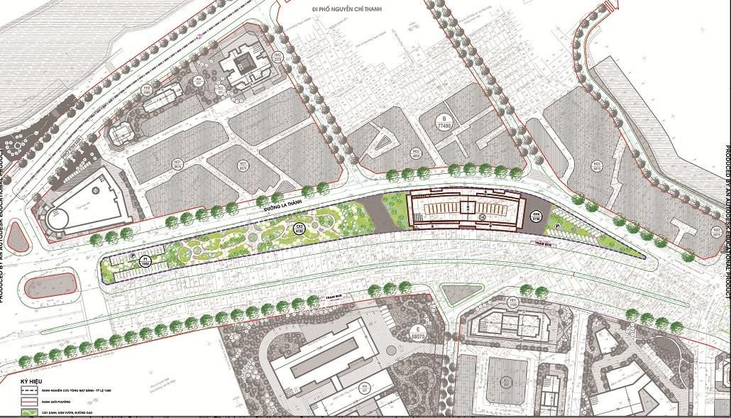 Phối cảnh tuyến đường mới song song với đường Đê La Thành hiện hữu đoạn Voi Phục - Láng Hạ. (Ảnh tư liệu).