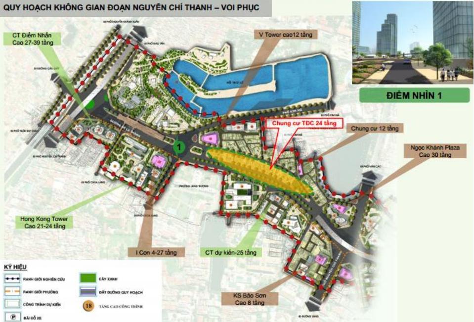 Các tòa nhà cao tầng chạy dọc tuyến đường mới đoạn Nguyễn Chí Thanh - Voi Phục. (Ảnh tư liệu).