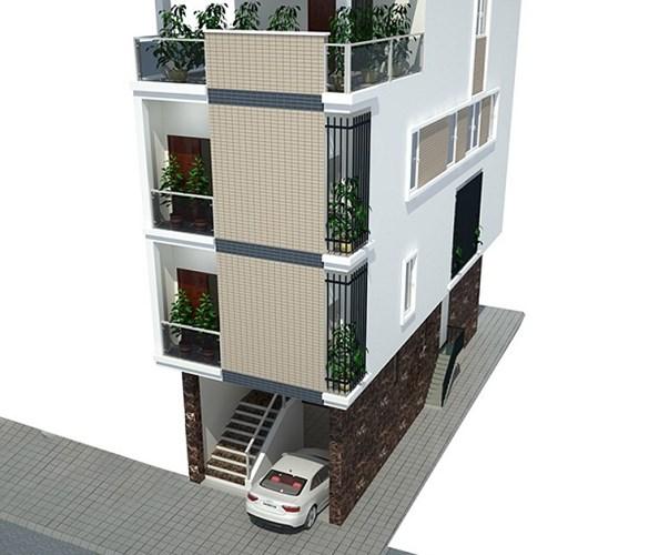 Theo nhu cầu sử dụng của gia đình, tầng 1 được chia thành tầng hầm để xe và tầng lửng. Ảnh: Ktshanoi.