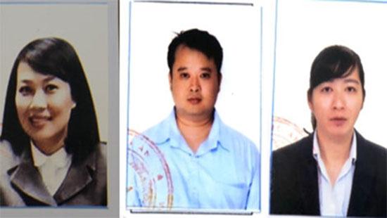 Từ trái qua: Đối tượng Kim Chi, Vương Hoàng và Minh Huệ (ảnh: công an)