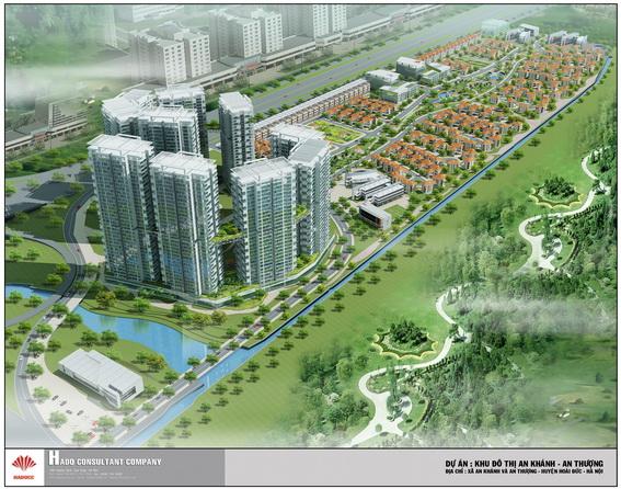 Phối cảnh dự án quy mô hàng chục tòa nhà cao tầng và hàng trăm biệt thự vẫn được chủ đầu tư treo trên website giới thiệu.