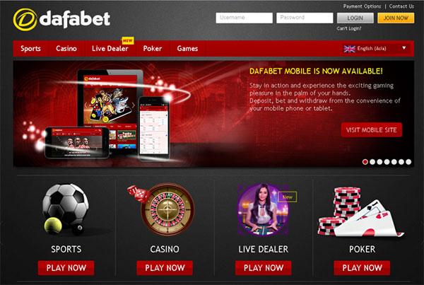 Giao diện của web Dafabet.