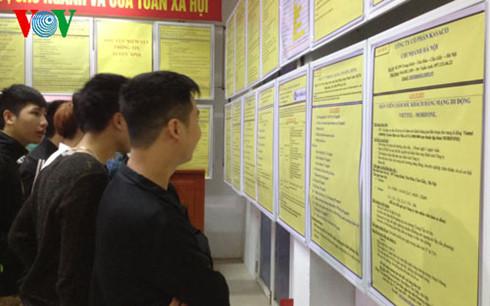 Rất nhiều thanh niên tìm kiếm cơ hội việc làm tại sàn giao dịch (Ảnh: MD)