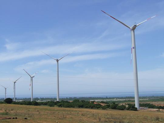 Tua bin gió của Nhà máy Điện gió Tuy Phong. Ảnh: Minh Hải