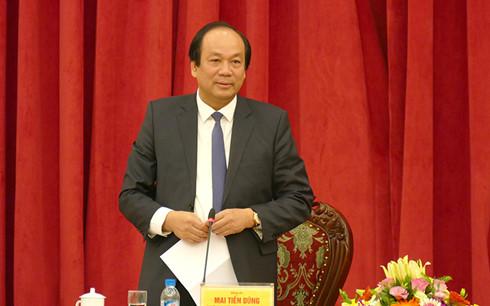 Bộ trưởng, Chủ nhiệm Văn phòng Chính phủ Mai Tiến Dũng - Tổ trưởng Tổ công tác của Chính phủ phát biểu tại buổi làm việc