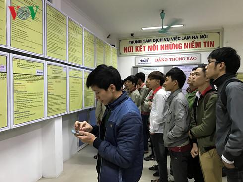 Người lao động tìm kiếm thông tin việc làm tại Trung tâm dịch vụ việc làm Hà Nội.