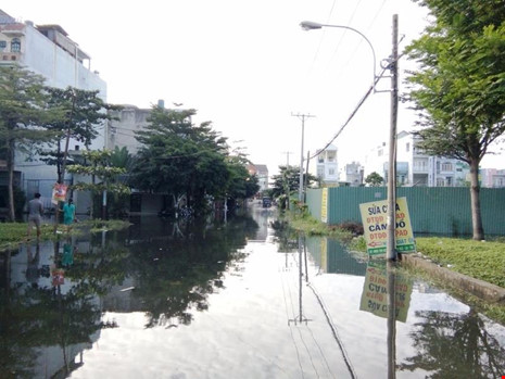 Khu Êm Đềm bị ngập tứ bề trong vụ vỡ cống ngăn triều vào tháng 1-2017. Ảnh: TRUNG THANH