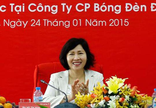 Bà Hồ Thị Kim Thoa, Thứ trưởng Bộ Công Thương, hiệm đang nắm giữ 1,68 triệu cổ phần của Công ty Điện Quang