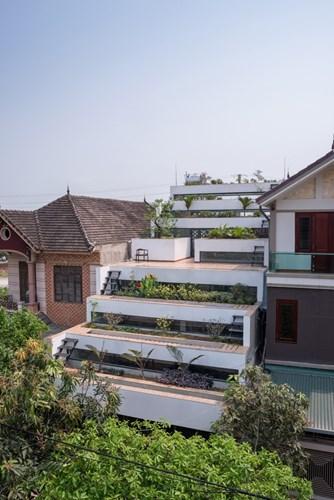 Không lợp ngói hay làm mái thái như những khu nhà bên cạnh, ngôi nhà này được đổ bê tông tạo nên những khu vườn bậc thang độc đáo trên mái nhà.