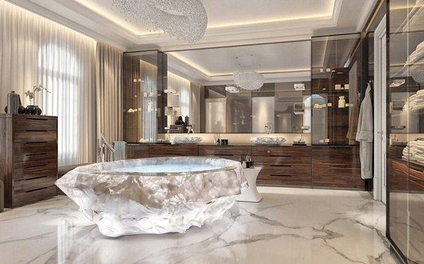 Bồn tắm được đục đẽo từ những khối đá quý có trọng lượng trên 10.000 kg được vận chuyển từ Nam Mỹ đến Trung Đông.