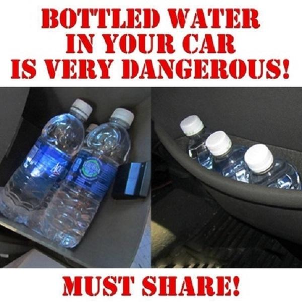 Một bức ảnh tuyên truyền từ Mỹ: Nước đóng chai để trong xe ô tô rất nguy hiểm. Hãy chia sẻ ngay cho người khác biết