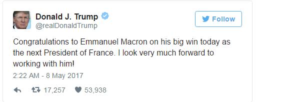 Donald Trump mong chờ được làm việc với Macron
