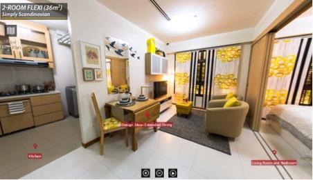 Phối cảnh một căn hộ 36m2 ở Singapore.