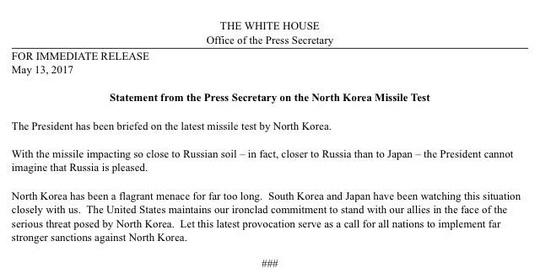 Tuyên bố chính thức từ Nhà Trắng về vụ phóng tên lửa mới nhất từ Triều Tiên