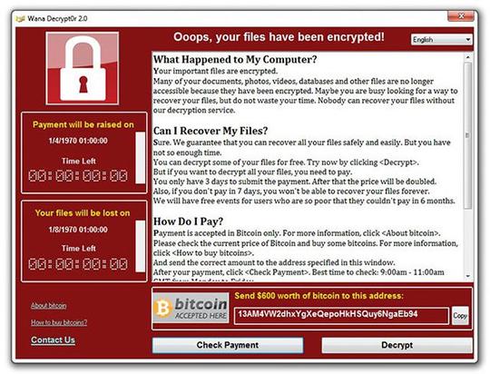 Màn hình máy tính bị nhiễm WannaCry