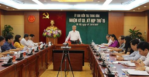 Kỳ họp thứ 15 của Ủy ban Kiểm tra Trung ương (Ảnh: Cổng TTĐT UBKTTW)