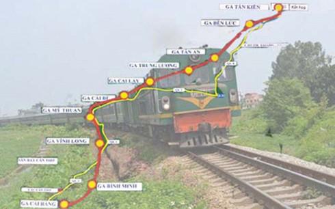Bản đồ tuyến đường sắt tốc độ cao TP HCM - Cần Thơ. (Đồ họa: Hồng Sơn/Người lao động)