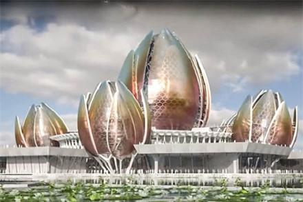 Nhà hát Hoa Sen được kiến trúc có 5 bông sen nổi trên mặt nước.