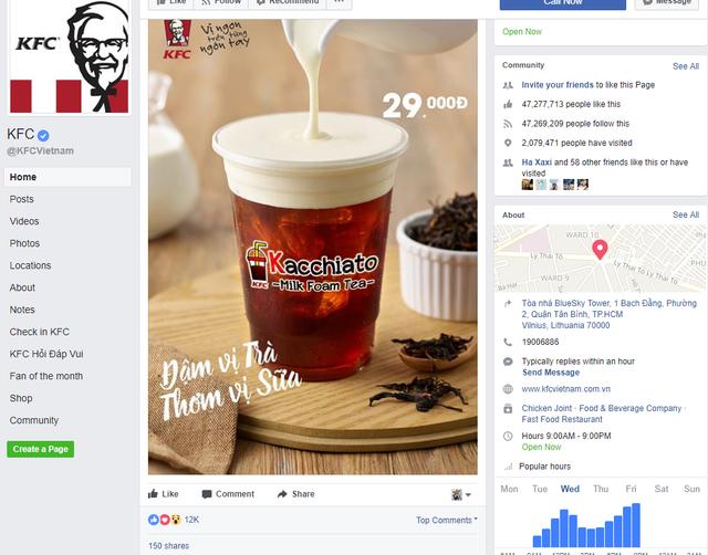 Hình ảnh loại trà sữa mới trên fanpage KFC