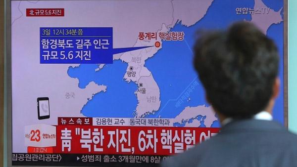 Tin tức về vụ thử hạt nhân lần 6 của Triều Tiên đang tràn ngập trên các kênh truyền thông thế giới. (Ảnh: AP)