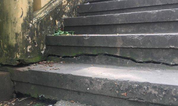 Nhiều vết nứt dài nhiều mét, rộng khoảng 5 cm, hở bêtông. Trong ảnh, vết nứt tại bậc thềm dẫn lên cầu