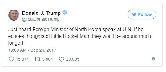 Dòng tweet phản pháo của Tổng thống Trump trước các phát biểu của Ngoại trưởng Triều Tiên. Ảnh: Twitter