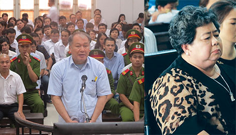 Bị cáo Phạm Công Danh và Hứa Thị Phấn tại phiên tòa.