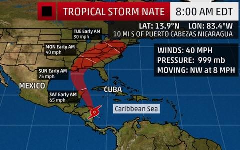 Hướng di chuyển của bão Nate. Ảnh: CBS