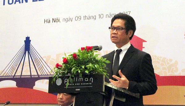 Chủ tịch VCCI Vũ Tiến Lộc phát biểu tại buổi họp báo. - Ảnh: VGP/Huy Thắng