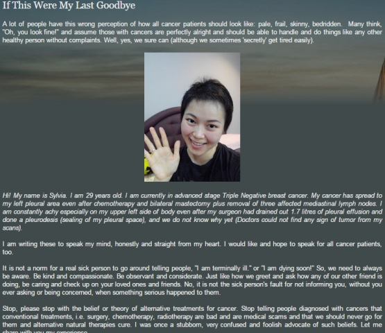 Sylvia Kang 29 tuổi - một blogger khá nổi tiếng người Brunei qua đời đáng tiếc vì ung thư vú do bỏ lỡ cơ hội điều trị chính thống.