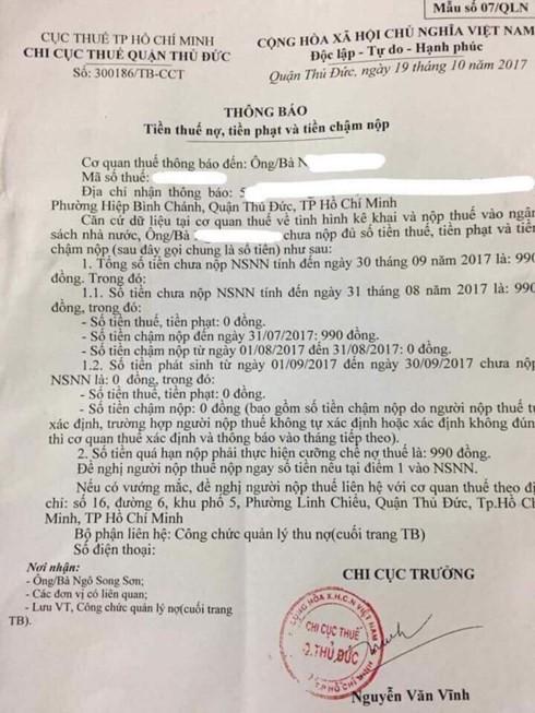 Một người dân ở TPHCM bị cưỡng chế nợ thuế… 990 đồng - Ảnh 1.