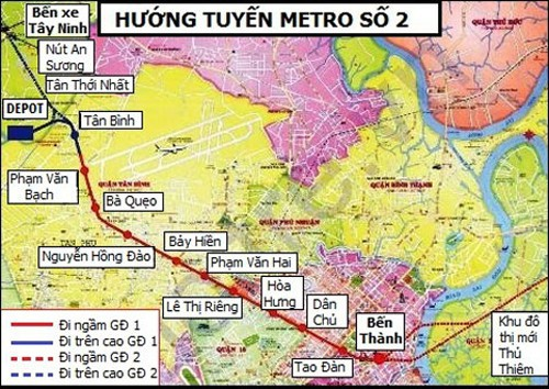 Sơ đồ hướng tuyến của tuyến metro số 2 tại TP HCM