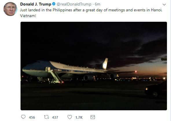 Dòng cập nhật của ông Trump trên Twitter cá nhân