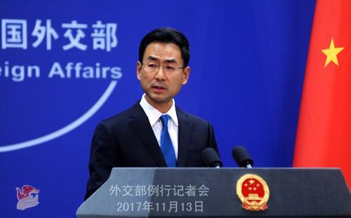 Phát ngôn viên Bộ ngoại giao Trung Quốc Cảnh Sảng họp báo ngày 13/11