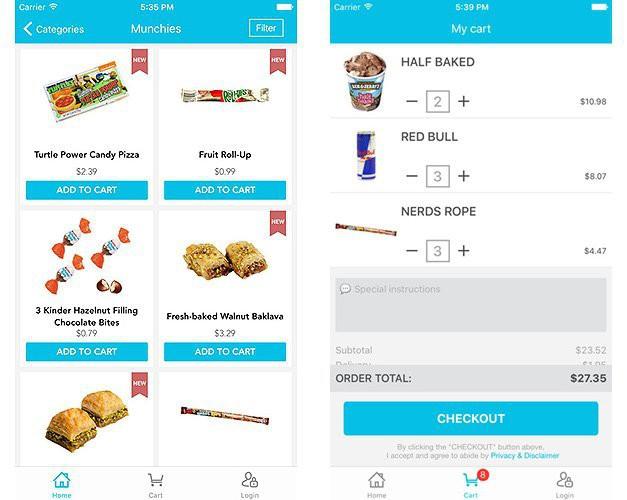 Những sản phẩm trên ứng dụng mua sắm của goPuff