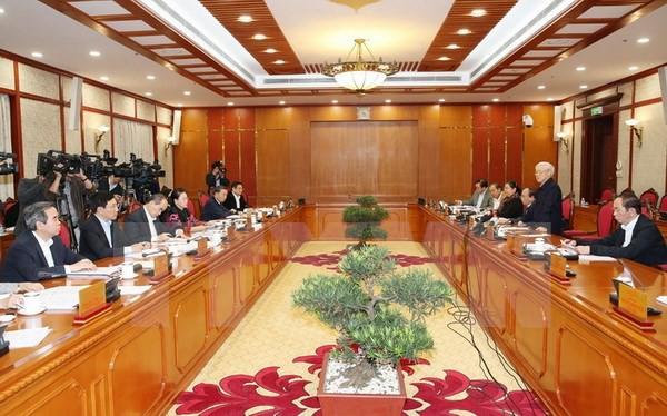 Tổng Bí thư Nguyễn Phú Trọng phát biểu tại cuộc họp.( Ảnh: Trí Dũng/TTXVN)