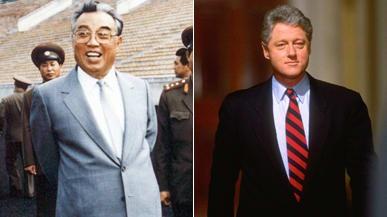 Cố lãnh đạo Triều Tiên Kim Il Sung và Cựu Tổng thống Mỹ Bill Clinton. Ảnh: Getty