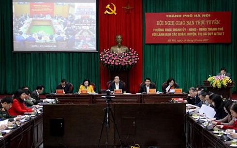 Hội nghị giao ban trực tuyến quý IV năm 2017 của thành phố Hà Nội.