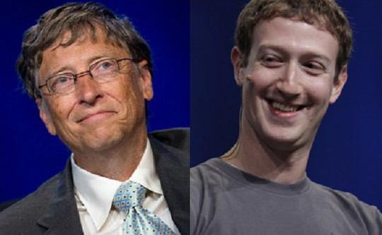 Bill Gates (trái) và Mark Zuckerberg, hai tỉ phú tích cực làm từ thiện. Ảnh: AP