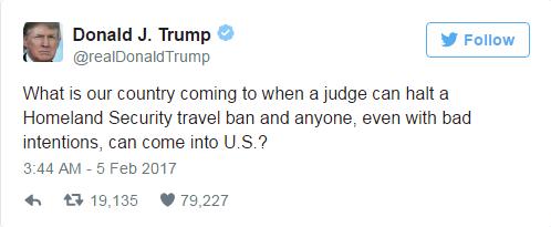 Ông Trump thông qua mạng xã hội phản ứng phán quyết của Thẩm phán James Robart. Ảnh: Twitter