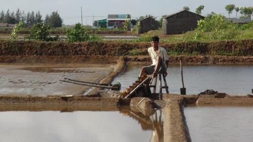Bơm nước vào ruộng muối. Ảnh: Huỳnh Phúc Hậu – TTXVN.