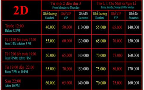 Giá vé xem phim tại rạp Quốc Gia