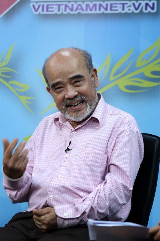 GS Đặng Hùng Võ, nguyên Thứ trưởng Bộ Tài nguyên và môi trường chia sẻ về tích tụ ruộng đất, mở rộng hạn điện tại Góc nhìn thẩng (ảnh: Lê Anh Dũng)