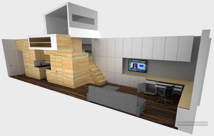 Nhìn vào mô hình cũng đủ thấy căn hộ có diện tích rất nhỏ, hẹp về bề ngang và dài – một thách thức không nhỏ trong bố trí nội thất.