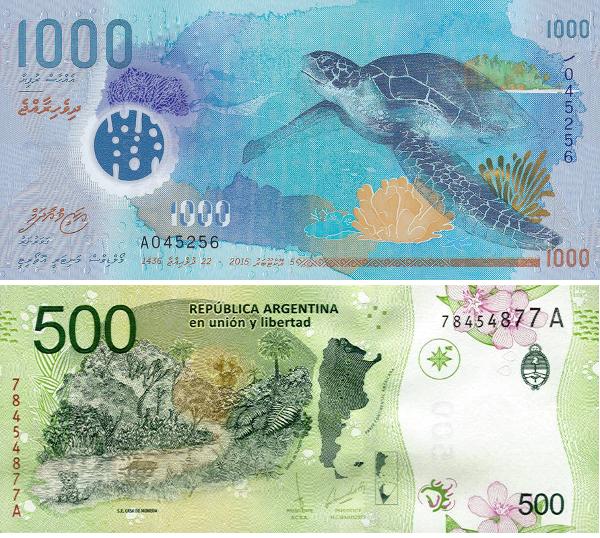 Tờ 1.000 Rufiyaa của Maldives (trên) và tờ 500 Peso của Argentina